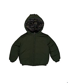 Toddler Boys Camo Hooded Full Zip Reversible Puffer Jacket
