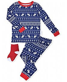 Baby Boys 2-Piece Fair Isle Pajama Sock Set