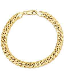 "Men's Miami Cuban Link 9-1/2"" Chain Braceletin 10k Gold"