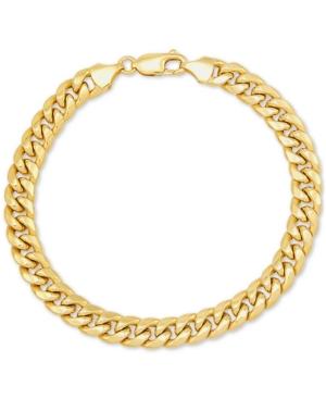 "Men's Miami Cuban Link 9-1/2"" Chain Braceletin 10k Gold"