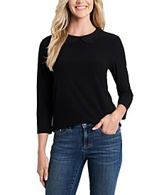 Embroidered-Collar Knit Top
