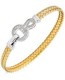 Diamond Clasp Woven Link Bracelet (1/4 ct. t.w.) in Sterling Silver & Gold-Plate