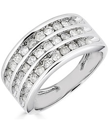 Diamond Multirow Channel-Set Statement Ring (1 ct. t.w.) in 14k White Gold