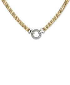 "Diamond Circle Mesh 18"" Statement Necklace (1/8 ct. t.w.) in Sterling Silver & Gold-Plated Sterling Silver"