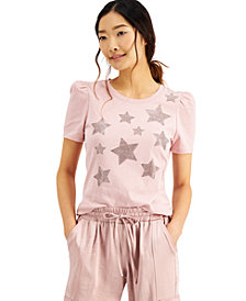 INC Plus Size Cotton Star-Print Puff-Sleeve Top, Created for Macy's