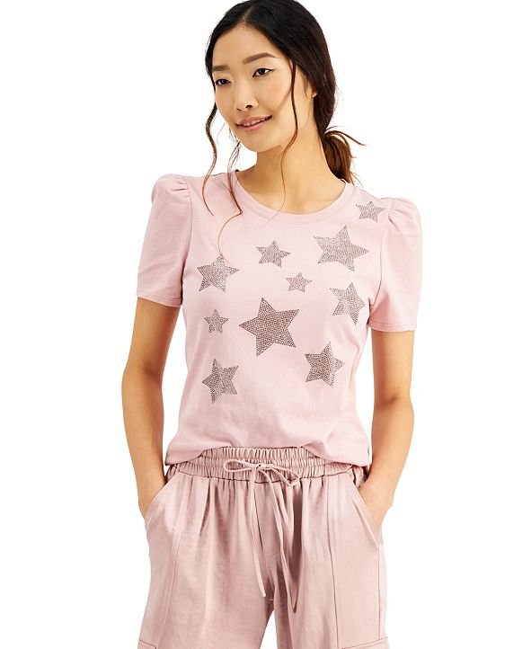 INC International Concepts INC Plus Size Cotton Star-Print Puff-Sleeve Top, Created for Macy's