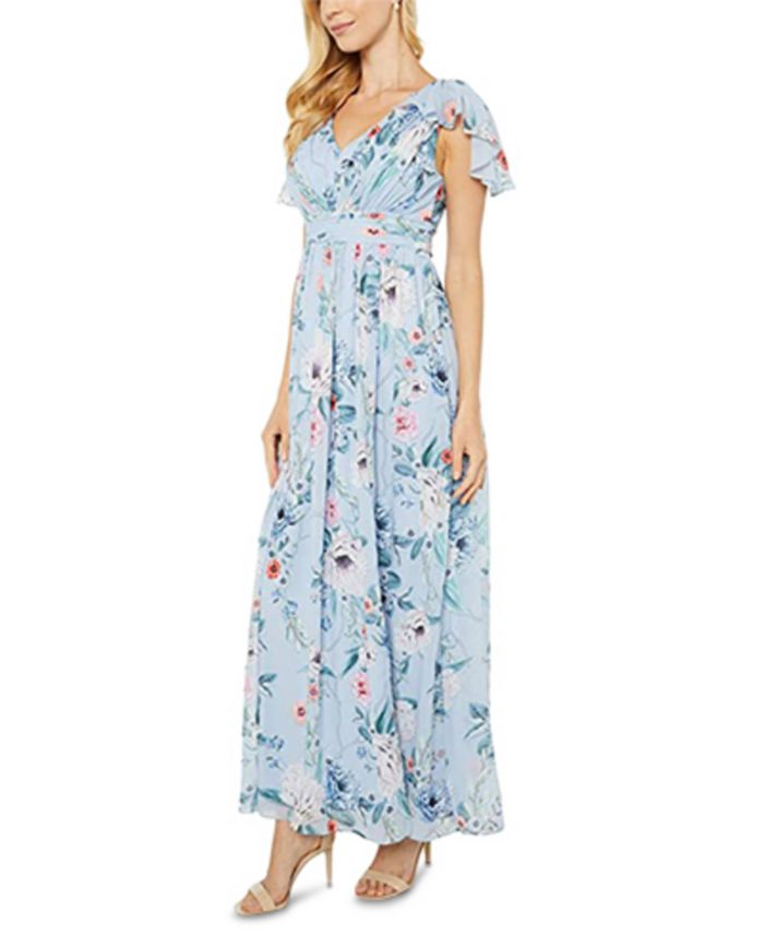 Adrianna Papell - Floral-Print Chiffon Gown