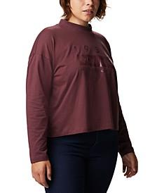 Plus Size Cotton Lodge Mock-Neck Logo-Graphic T-Shirt