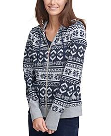 Patterned Zip-Up Sweater Hoodie