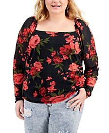 Trendy Plus Size Ruched Mesh Top