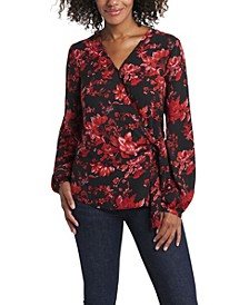 Women's Long Sleeve Tie Front Victorian Blooms Print Blouse