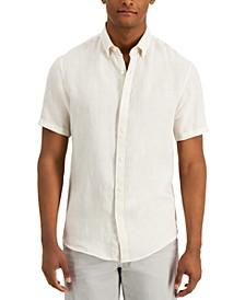 Men's Slim-Fit Linen Short-Sleeve Oxford Shirt