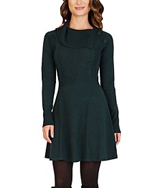 Juniors' Draped Fit & Flare Sweater Dress