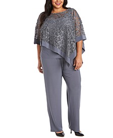 Plus Size 2-Pc. Poncho Top & Pants Set