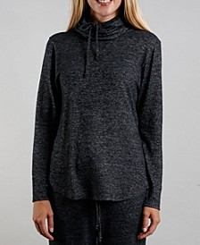Women's Cozy Built-In Mask Curved Hem Pullover
