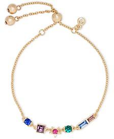 Gold-Tone Multicolor Crystal Star Slider Bracelet