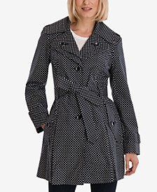 Polka-Dot Hooded Belted Trench Coat