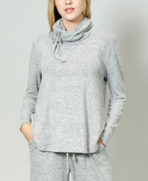 1804 Women's Cozy Built-In Mask Curved Hem Pullover
