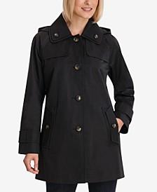 Petite Single-Breasted Hooded Raincoat