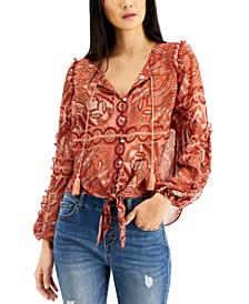 INC Printed Tassel-Tie Shirt, Created for Macy's