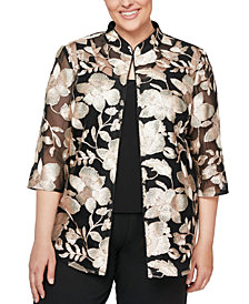Alex Evenings Plus Size Embroidered Jacket & Top Set