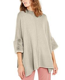 Faux-Fur-Cuff Poncho, Created for Macy's