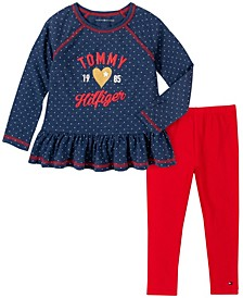 Little Girls Two Piece Dot Print Tunic Top with Leggings Set
