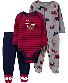 Carters Baby Boy or Girl 3-Piece Squirrel Bodysuit & Footed Pant Set