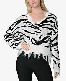 Juniors' Animal-Print Destructed Sweater