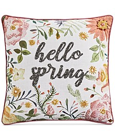 "20"" x 20"" Hello Spring Beaded Decorative Pillow"