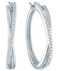 Diamond Crossover Hoop Earrings (1/4 ct. t.w.) in Sterling Silver