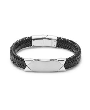Men's Brai Ded Black Leather Id Bracelet