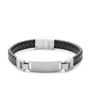 Men's Black Brai Ded Leather Id Bracelet