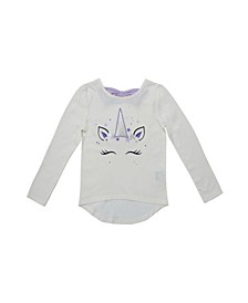 Little Girls Long Sleeve Graphic High-Low Tee