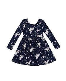 Little Girls Long Sleeve All Over Print Skater Dress