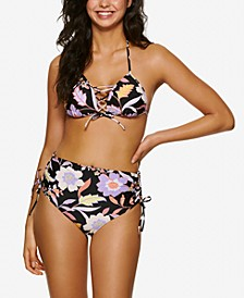 Juniors' Luna Floral-Print Bikini Top & High-Waist Bikini Bottoms, Created for Macy's