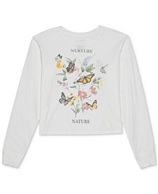 Juniors' Butterfly Long-Sleeve T-Shirt