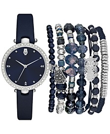 Women's Navy Blue Strap Watch 35mm Gift Set