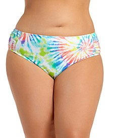 California Waves Trendy Plus Size Tie-Dye Ruched-Side Bikini Bottoms, Created for Macy's