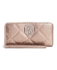 Dilla Large Quilted Logo Zip Around Wallet Wristlet