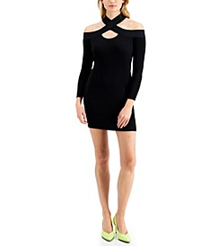 Off-Shoulder Cut-Out Ribbed Sweater Dress, Created for Macy's