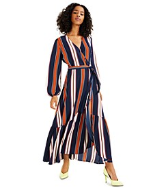 High-Low Striped Maxi Wrap-Dress, Created for Macy's