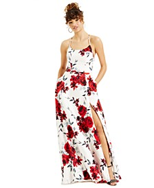 Juniors' Lace-Up-Back Floral-Print Ball Gown, Created for Macy's