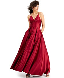 Juniors' Strappy V-Neck Gown