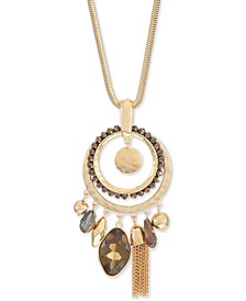 "Stone, Bead, Tassel & Hammered Disk Long Pendant Necklace, 34"" + 3"" extender, Created for Macy's"