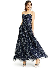 Juniors' Strapless Corset Glitter Gown, Created for Macy's