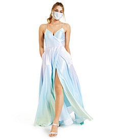 Juniors' Ombré Satin Gown
