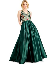 Juniors' Embroidered Appliqué Gown with Pockets