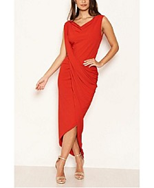 Women's Cowl Neck Ruched Maxi Dress