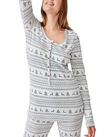 Women's Henley Waffle Long Sleeve Top